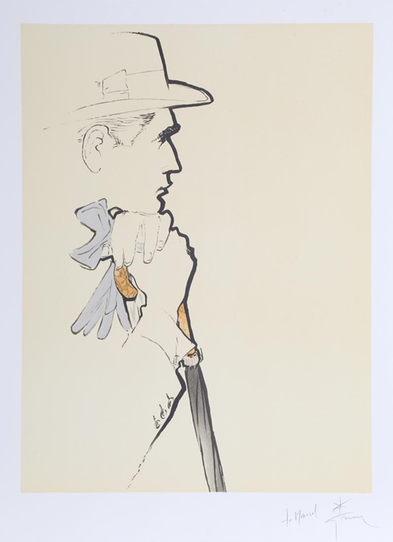 Rene Gruau, Pensive Man with Gloves, Lithograph,
