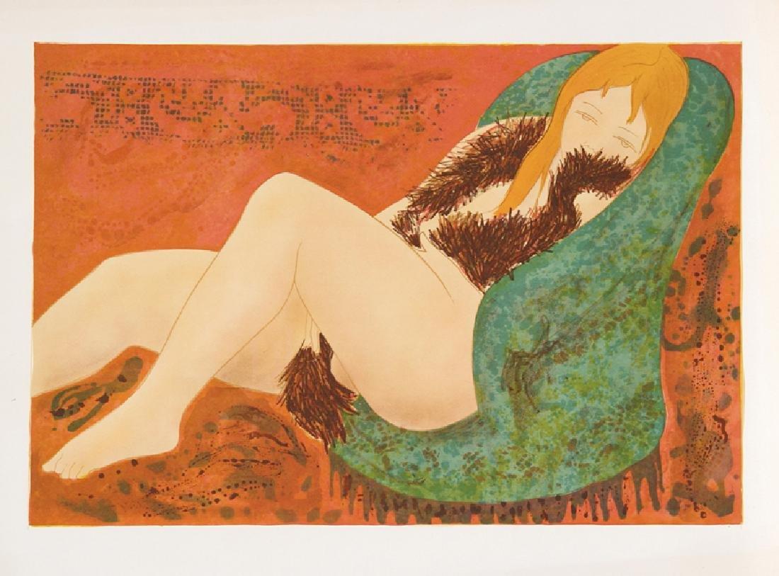 Alain Bonnefoit, Nude in Green Chair, Lithograph,