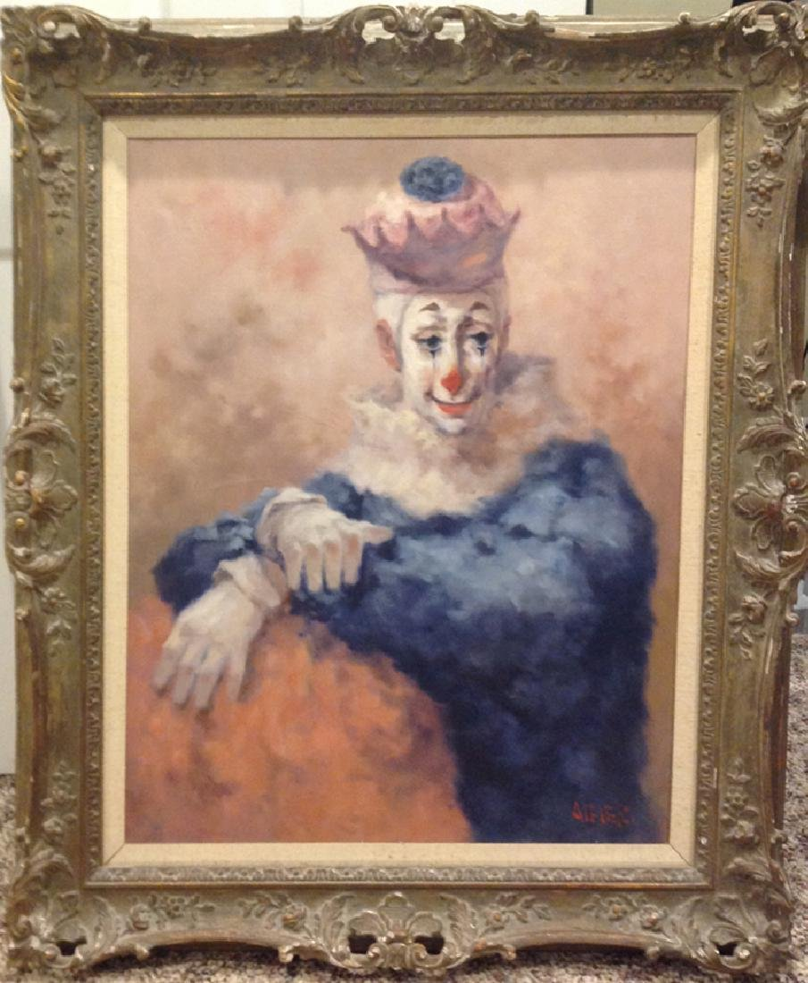 Philippe Alfieri, Sitting Clown, Oil Painting, signed