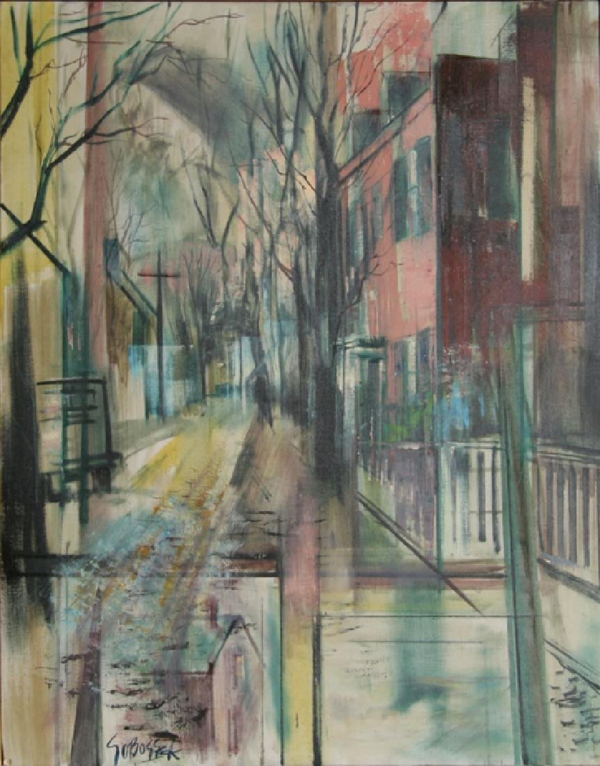 Stanley Sobossek, City Street, Oil Painting, Signed