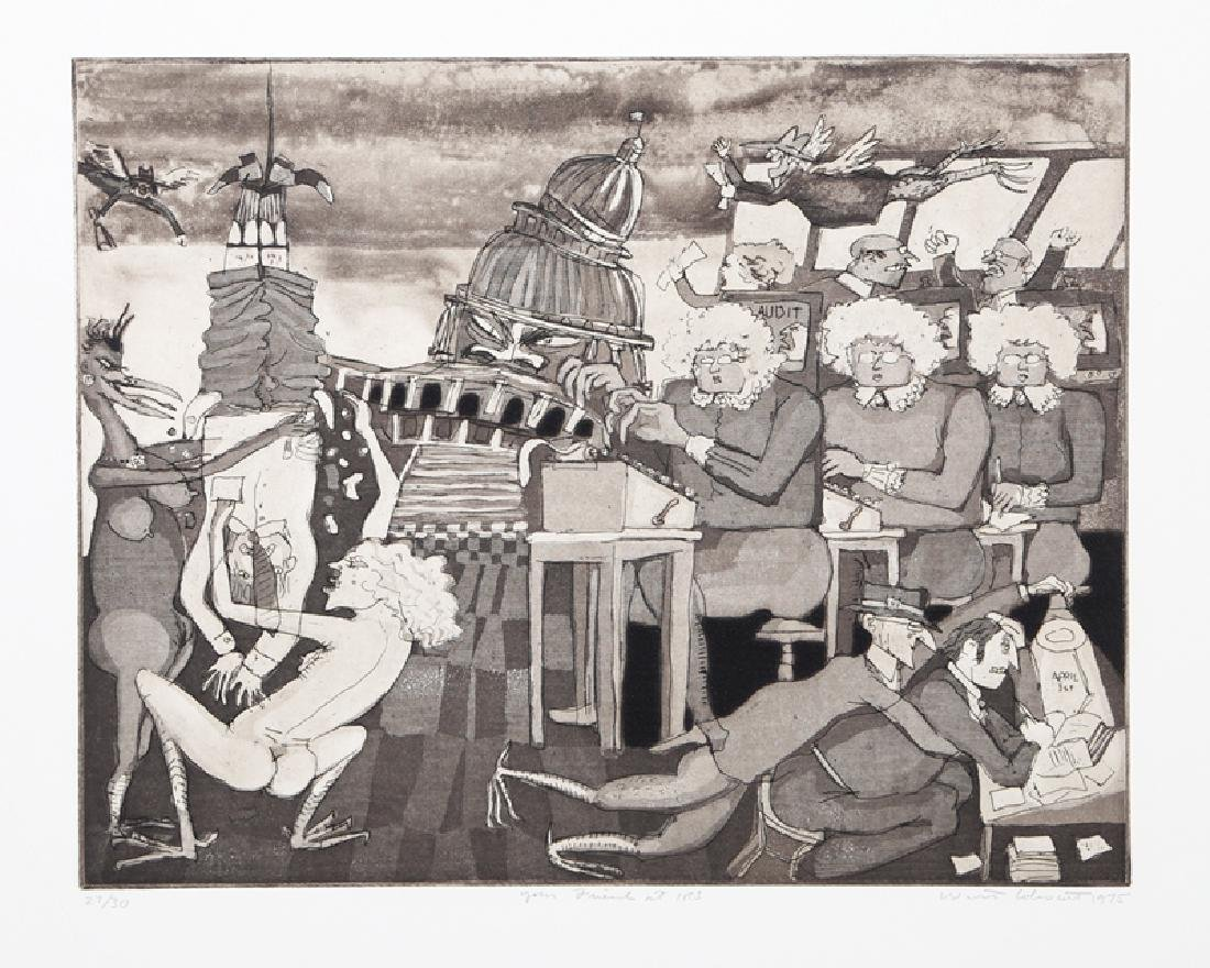 Warrington Colescott, Your Friends At The IRS, Etching,