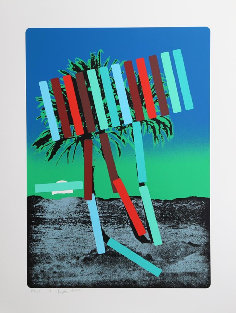 Menashe Kadishman, Teal and Red Palm, Serigraph,