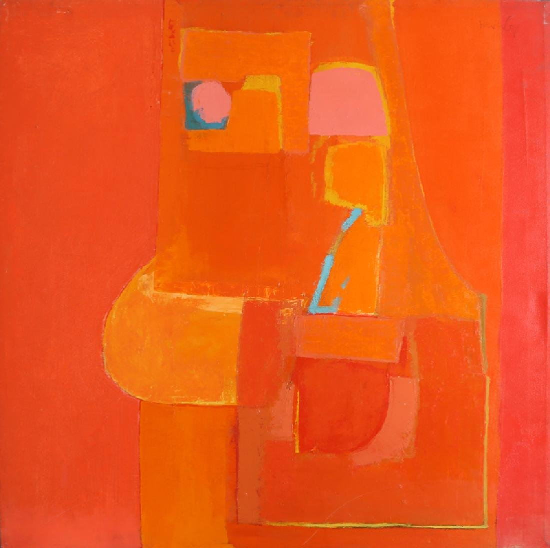 Beverly, Modern Abstract in Orange and Red, Oil