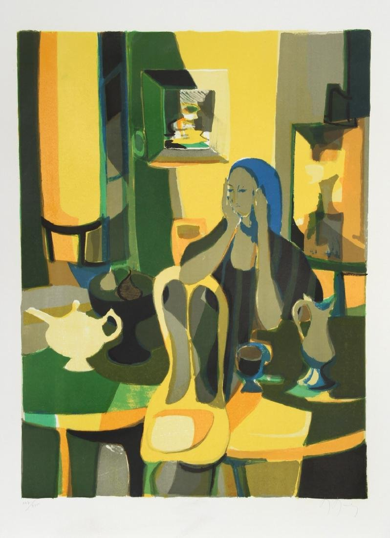Marcel Mouly, At the Cafe, Lithograph,