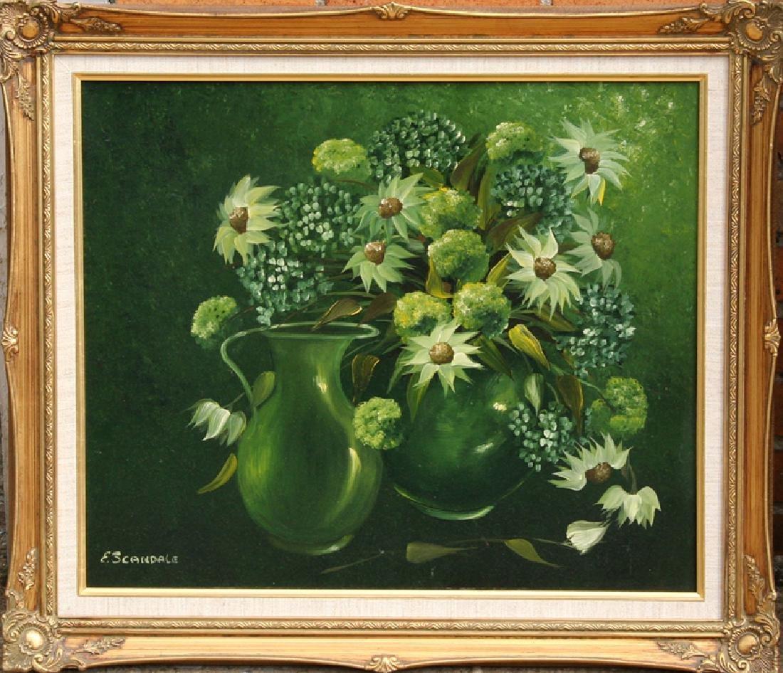 Esther Scandale, Flower Still Life in Green, Oil on