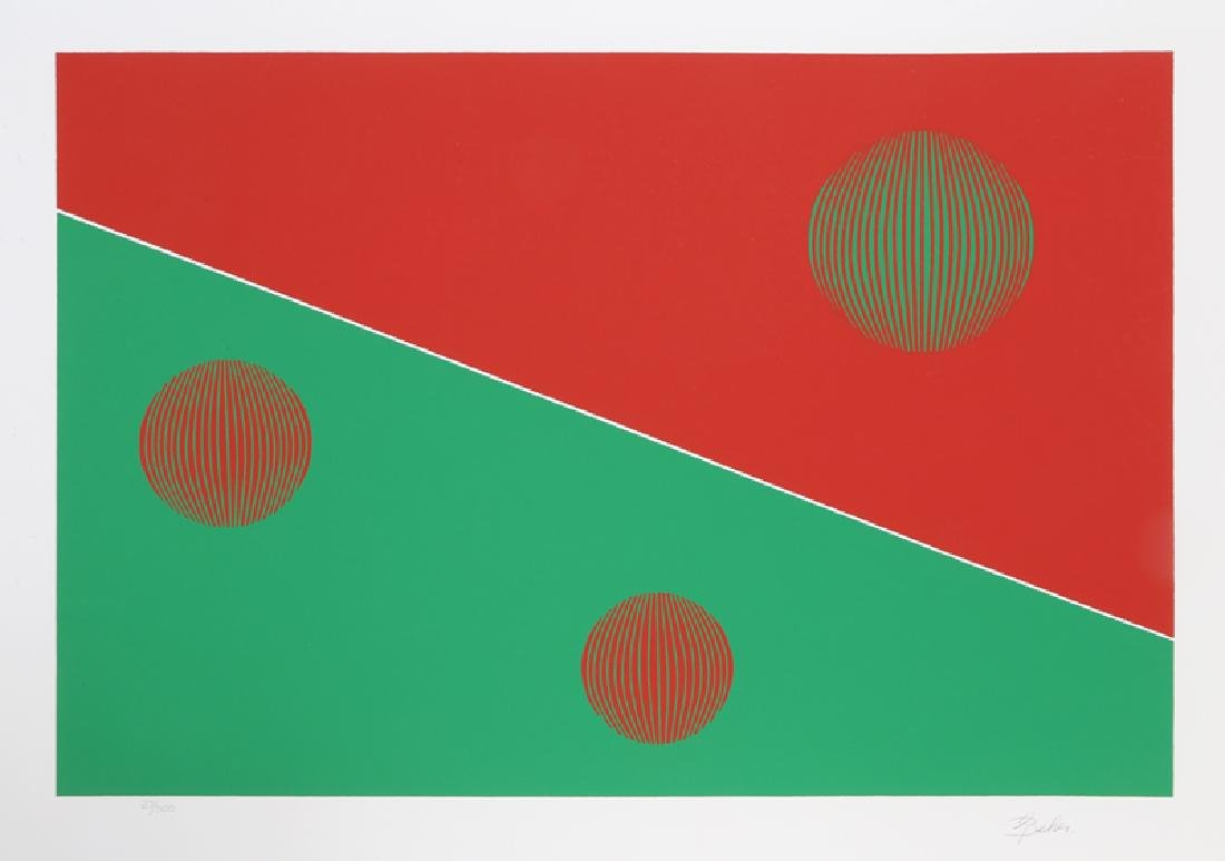 Gisela Beker, Red and Green, Serigraph,