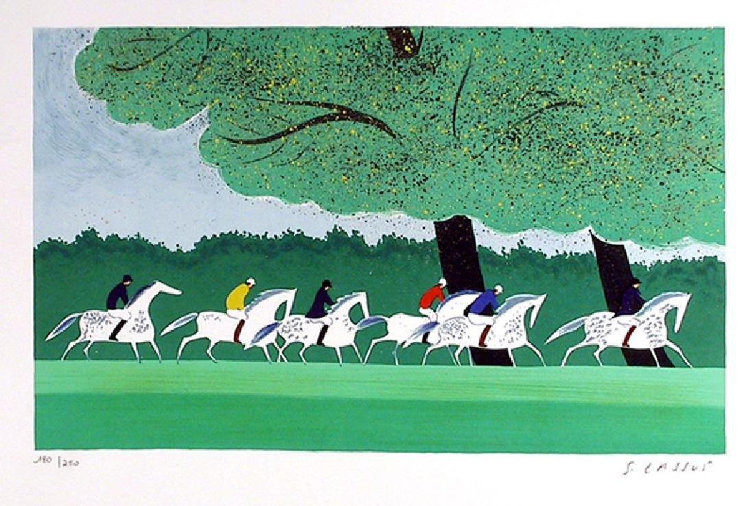 Serge Lassus, Polo Run (Green), Lithograph,