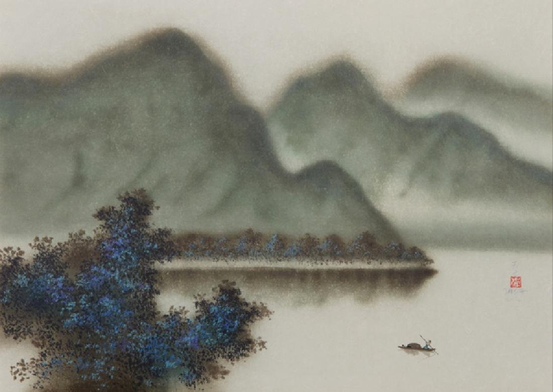 David Lee, Three Green Islands (20), Lithograph,