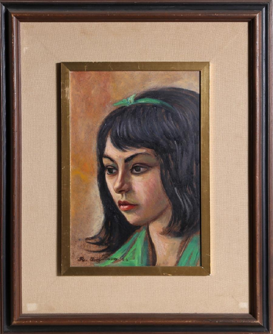 Raul Anguiano, Portrait of a Girl in Green, Oil