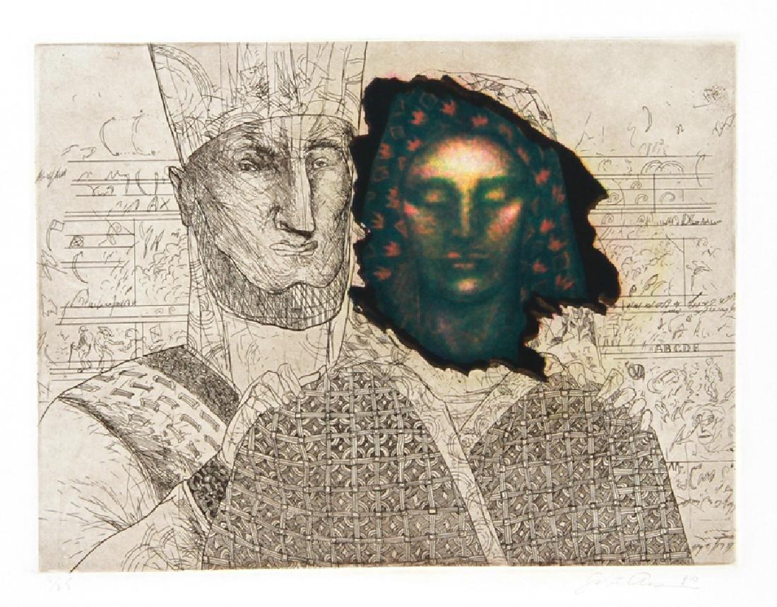 Saint Clair Cemin, Priestess (Green), Aquatint Etching,