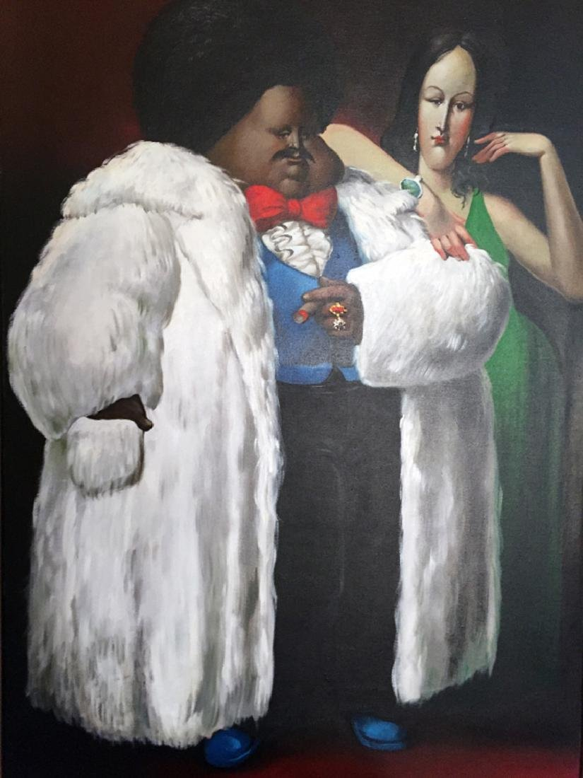 Leandro Velasco, Man in White Fur Coat with Lady in