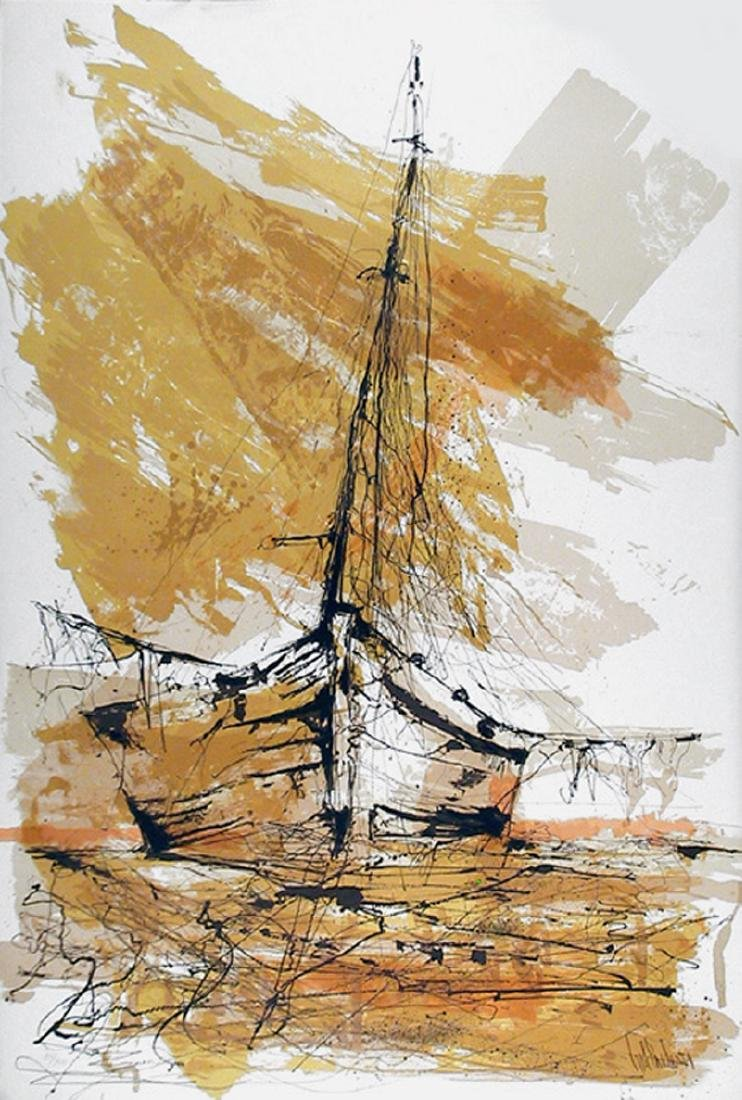 Gino Hollander, Barco de Madrugada, Lithograph,