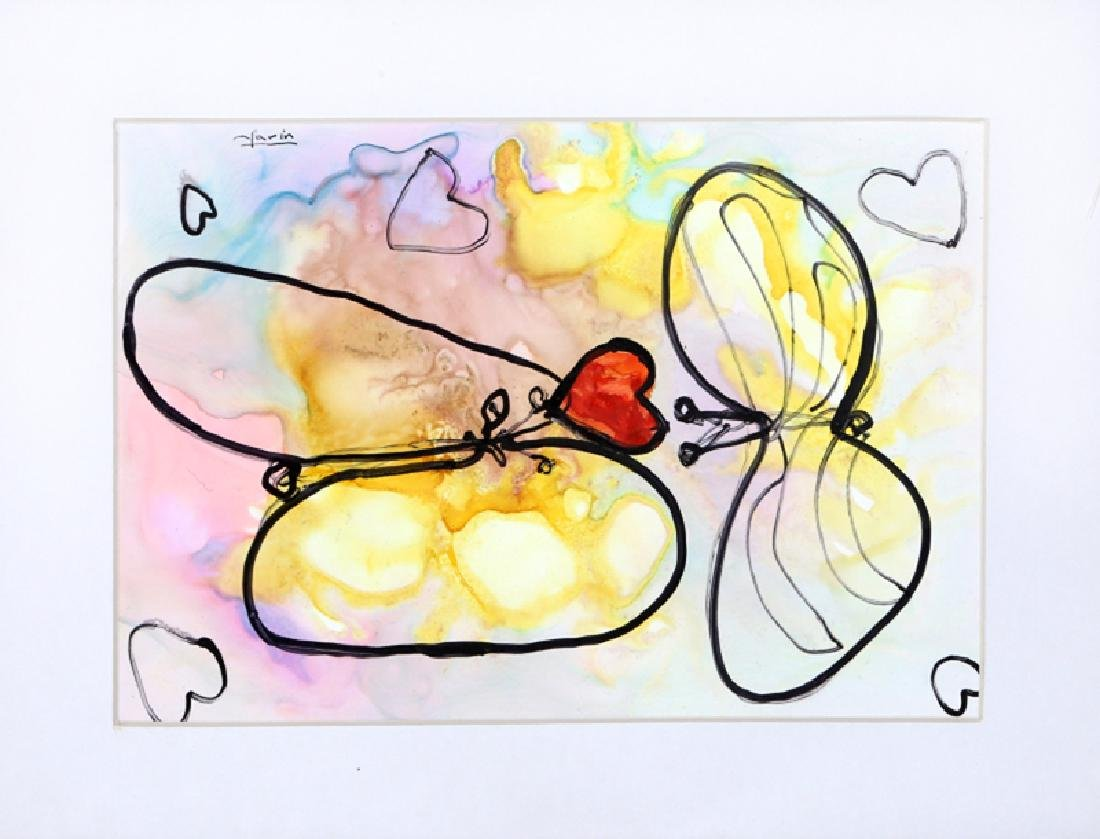Avi Farin, Love Butterflies I, Acrylic  , signed