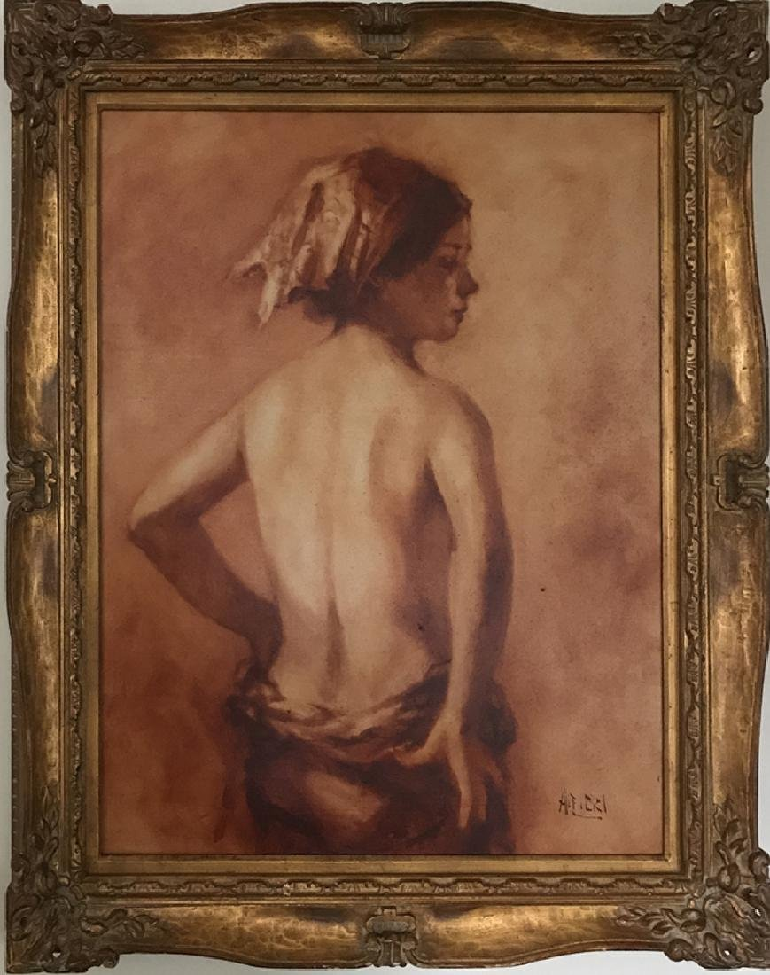 Philippe Alfieri, Back Nude Profile, Oil Painting