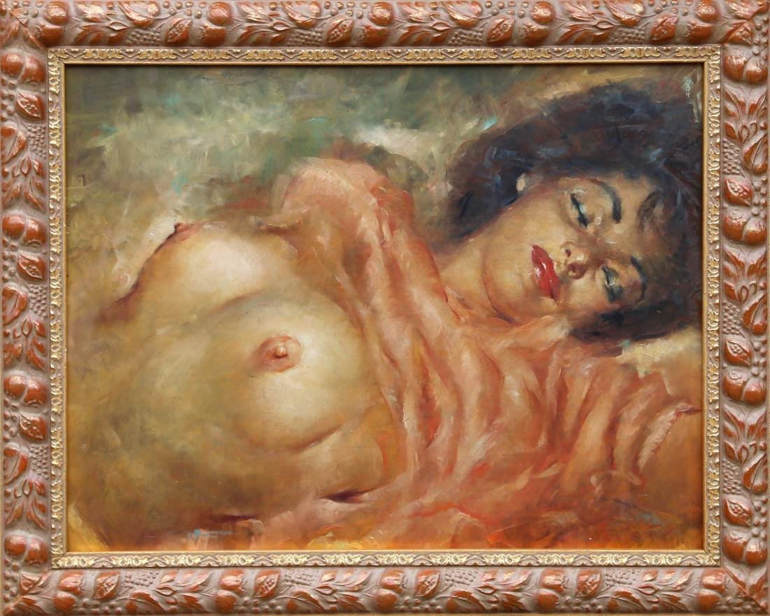 Julian Ritter, Reclining Nude, Oil on Masonite