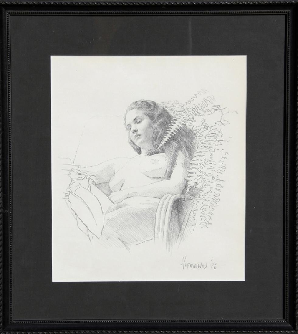 Douglas Hofmann, Beverly with Ferns, Pencil Drawing  ,