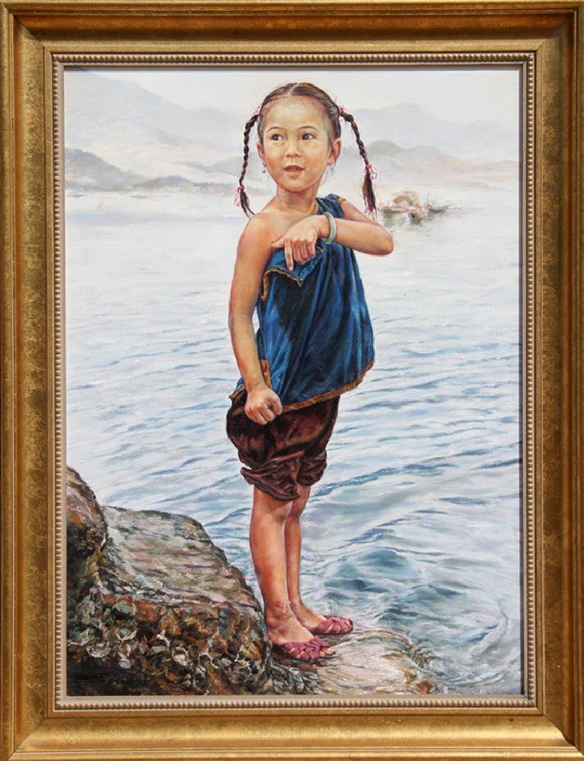 Wai Ming, I Want to Swim, Oil Painting, signed and