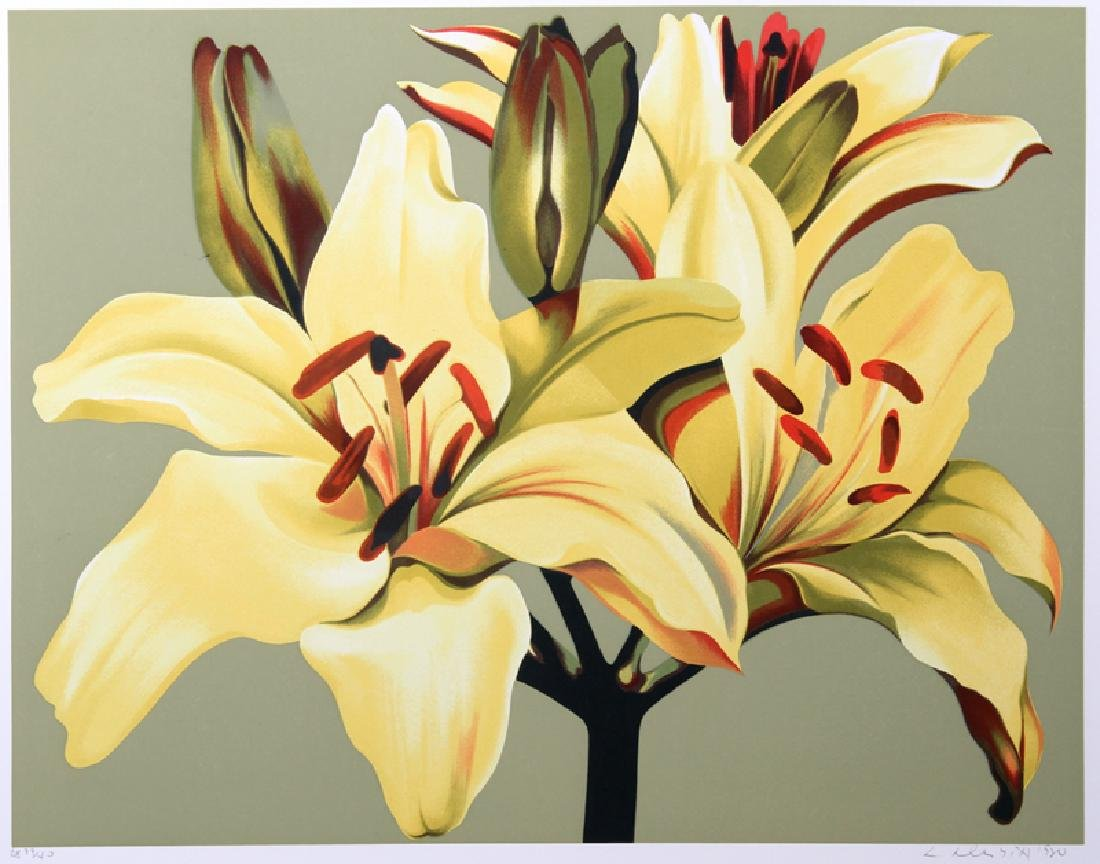 Lowell Blair Nesbitt, Lilies on Green, Serigraph,