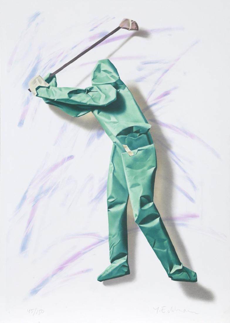 Yrjo Edelmann, Untitled - Green Golfer, Lithograph,