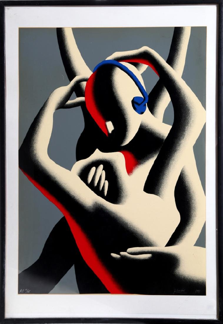 Mark Kostabi, Love in Stereo, Serigraph, Signed and