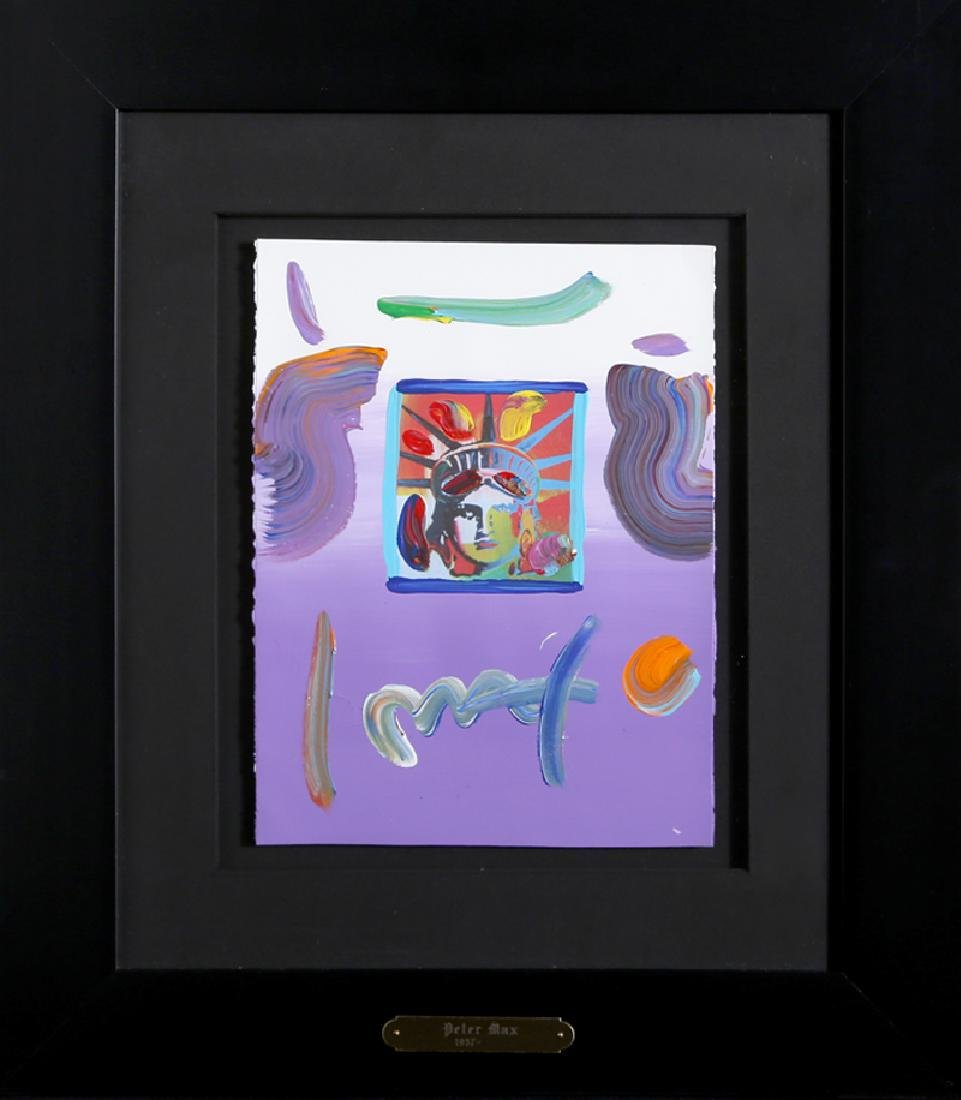 Peter Max, Liberty Head (Purple), Mixed Media Acrylic