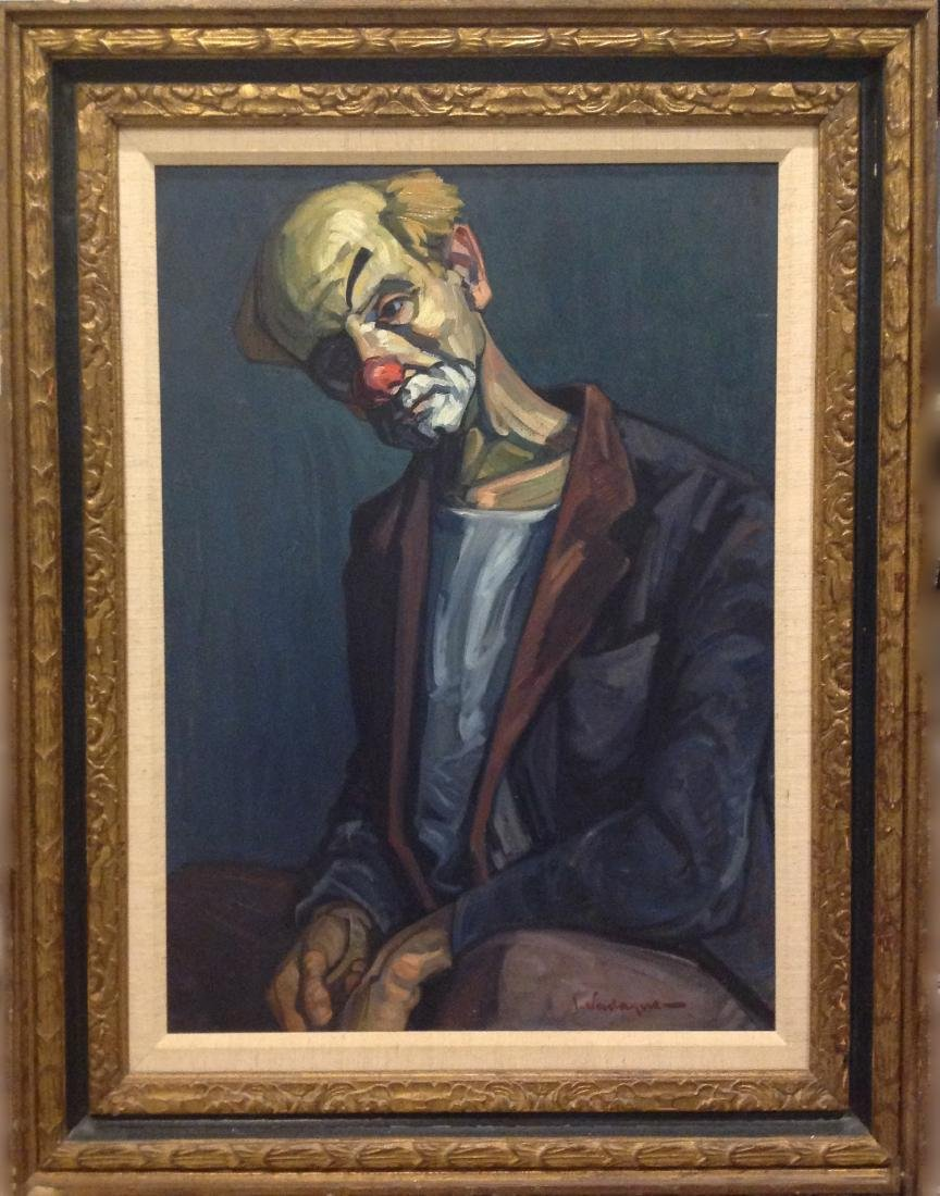 Unknown, Clown in Blue, Oil Painting