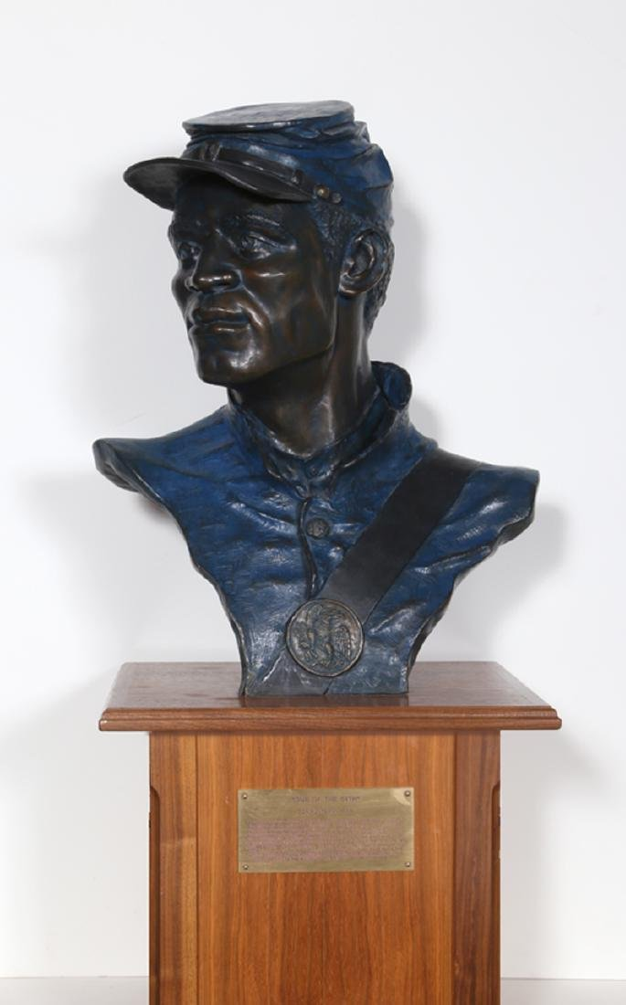 Don Huntsman, One of the 54th, Bronze with Wood Base,