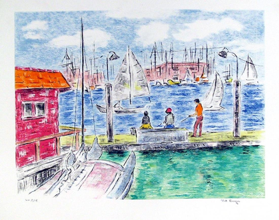 Pat Berger, Fishing off the Docks, Lithograph,