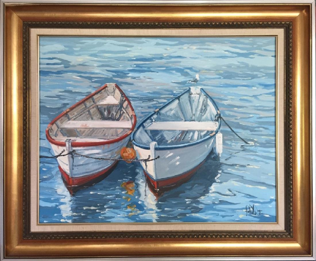 John Nesta, Two Dories, Oil Painting, signed l.r.