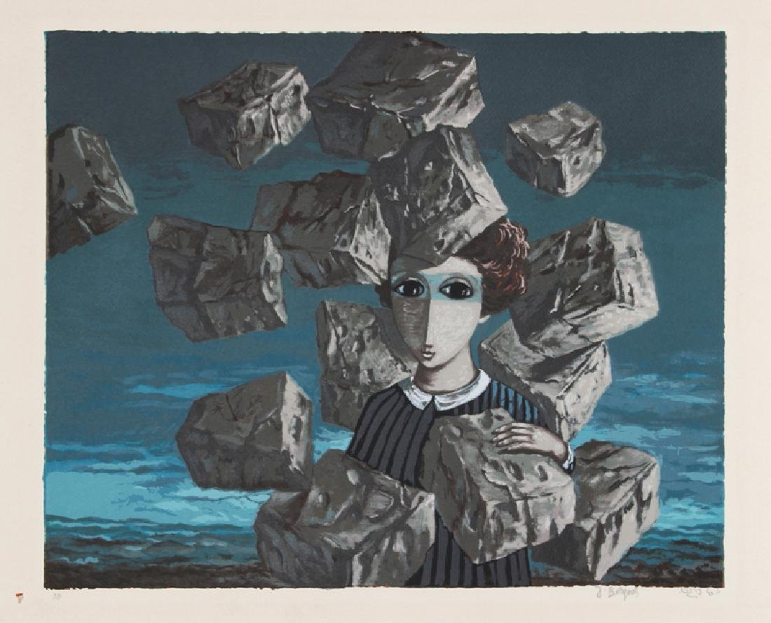 Yosl Bergner, Untitled - Portrait with Falling Rocks,