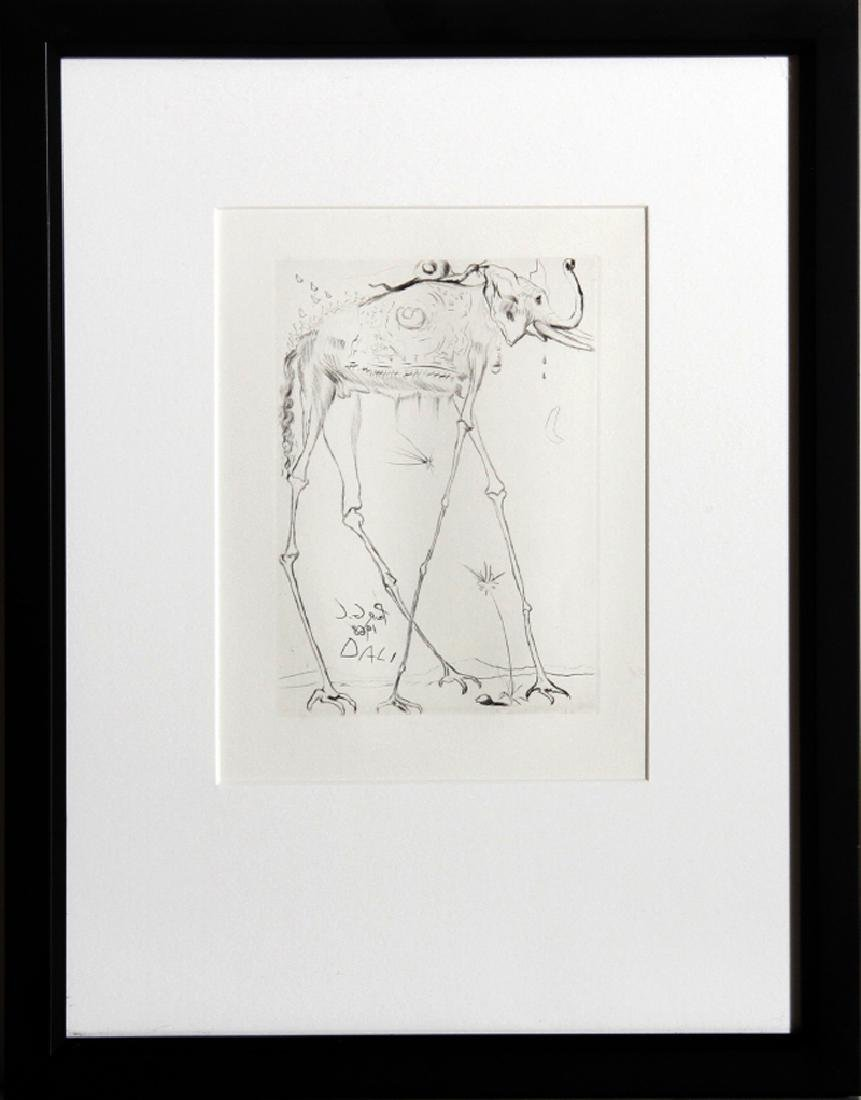 Salvador Dali, Space Elephant, Etching, signed in the