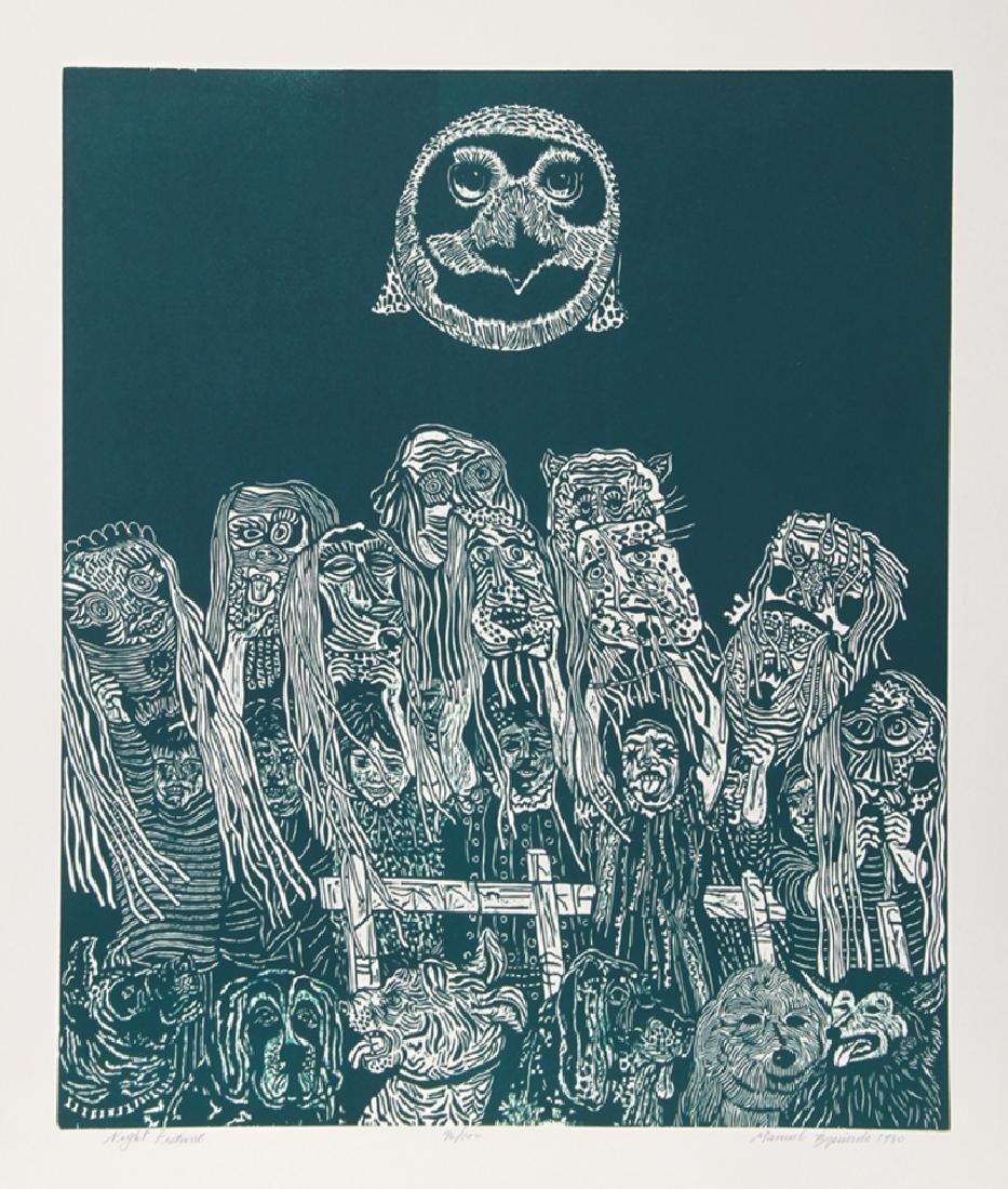 Manuel Izqueirdo, Night Festival (Green), Woodcut,