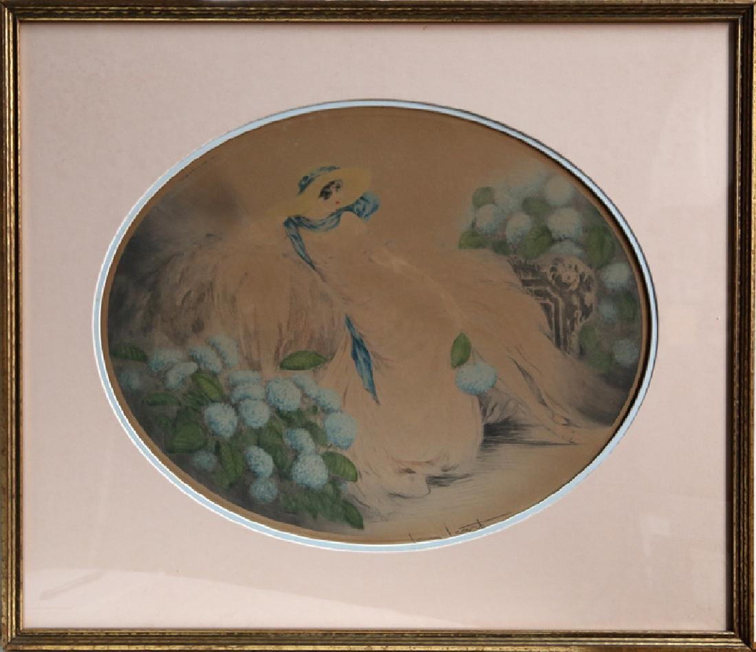 Louis Icart, Hydrangeas, Color Etching,