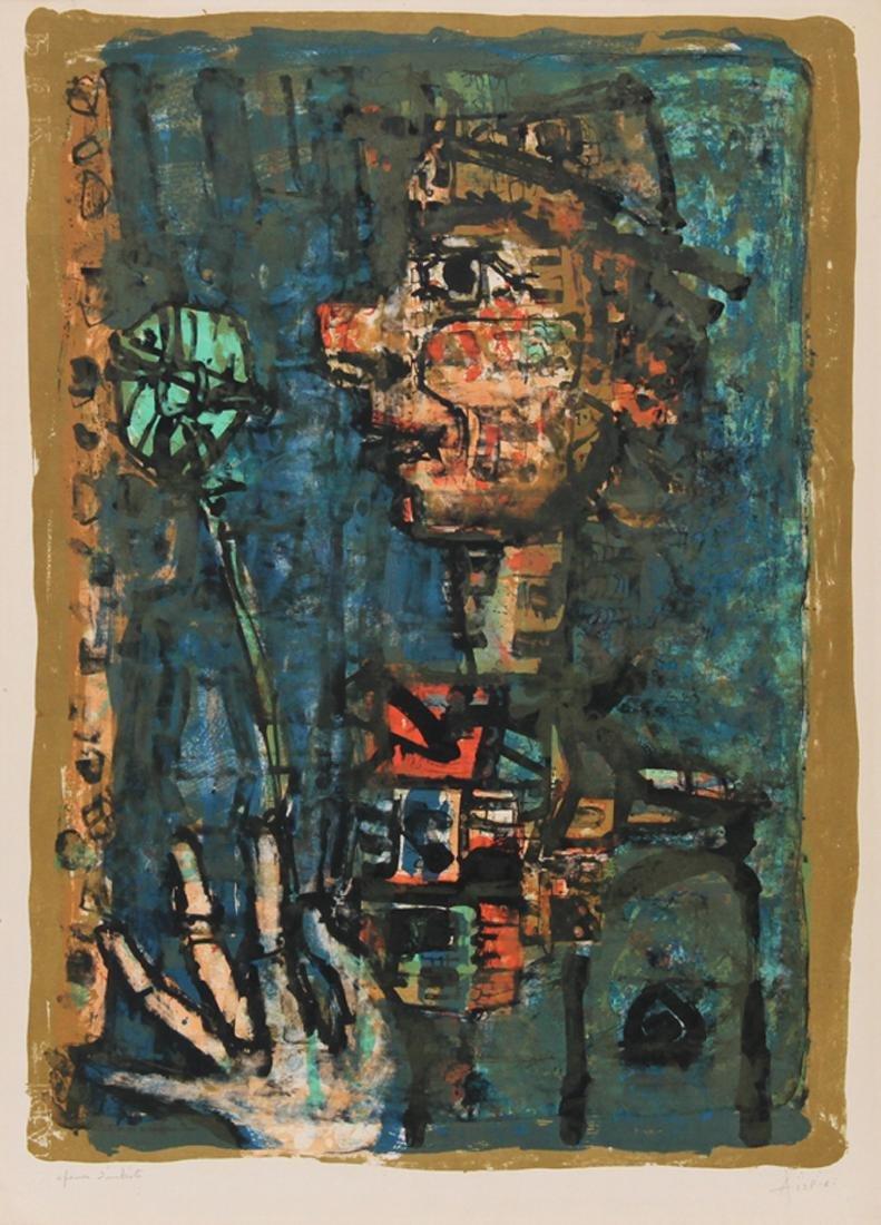 Paul Augustin Aizpiri, Clown with Flower, Lithograph