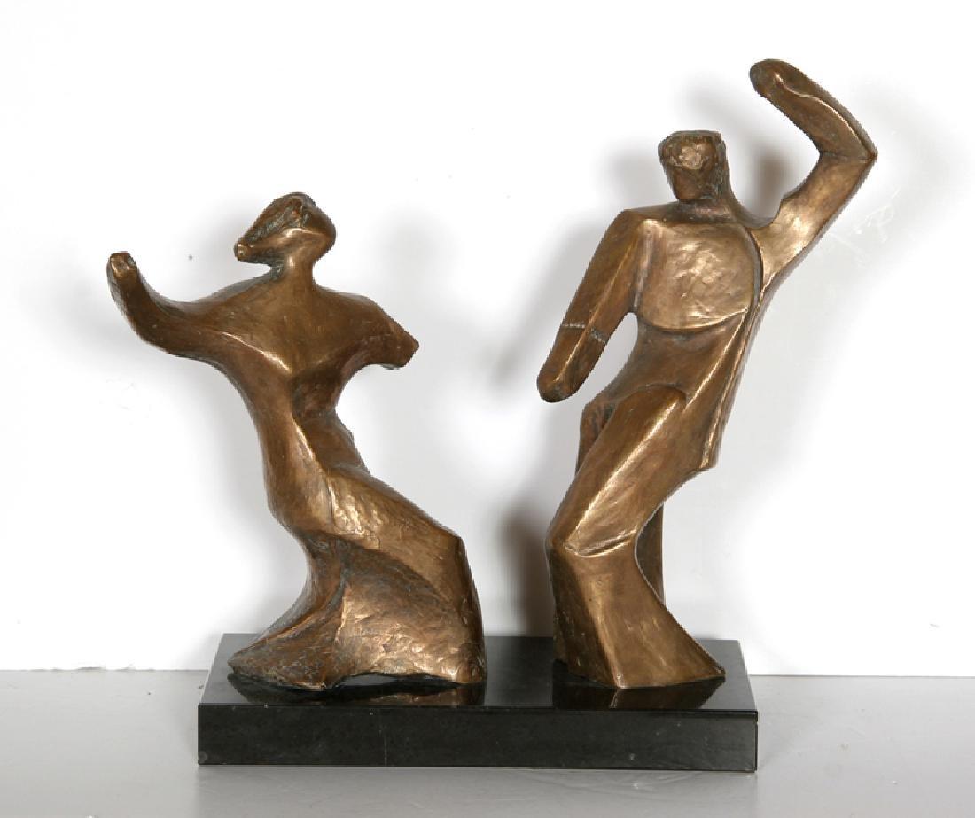 Pearl Amsel, Dancing Couple, Bronze Sculpture,