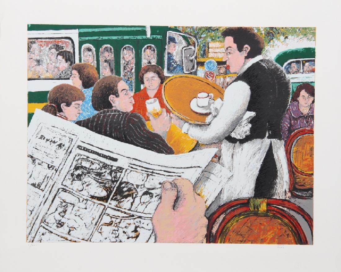 David Azuz, Cafe Scene I, Lithograph