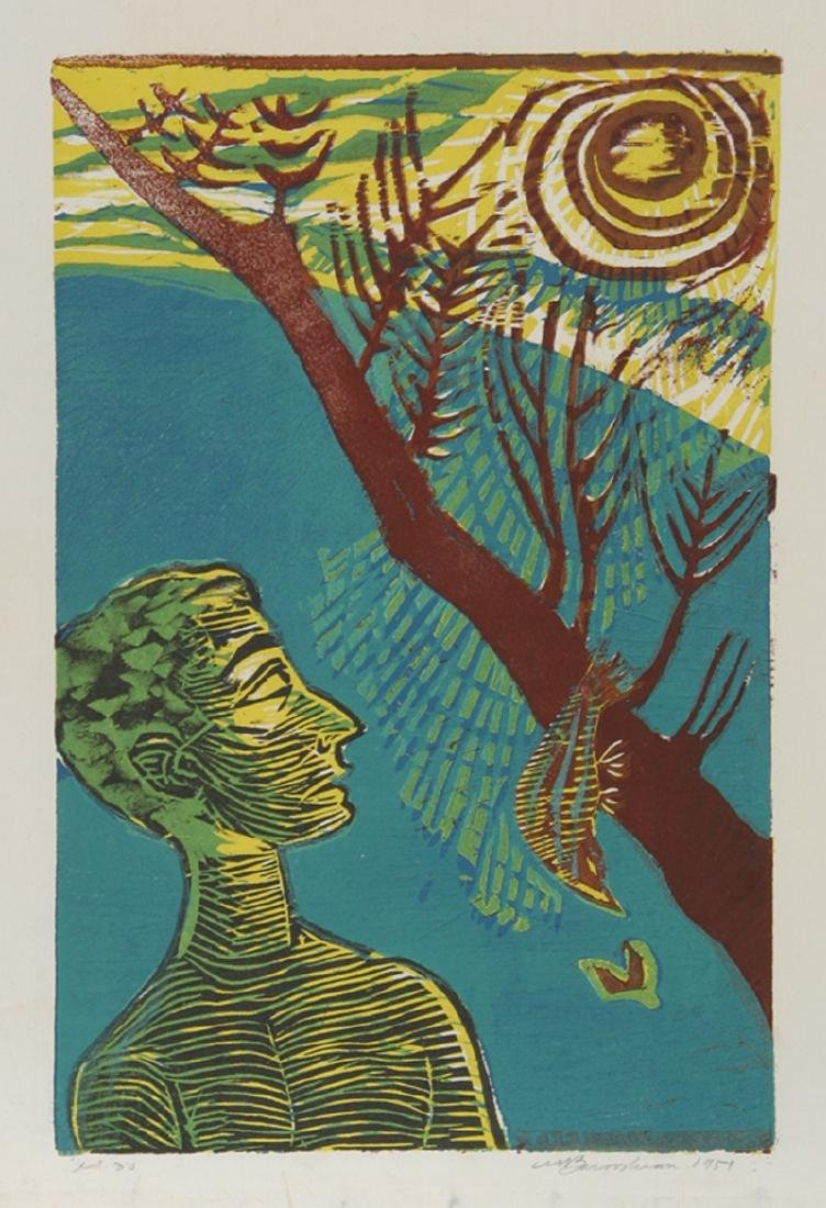 Martin Barooshian,  - Sungazer, Woodcut