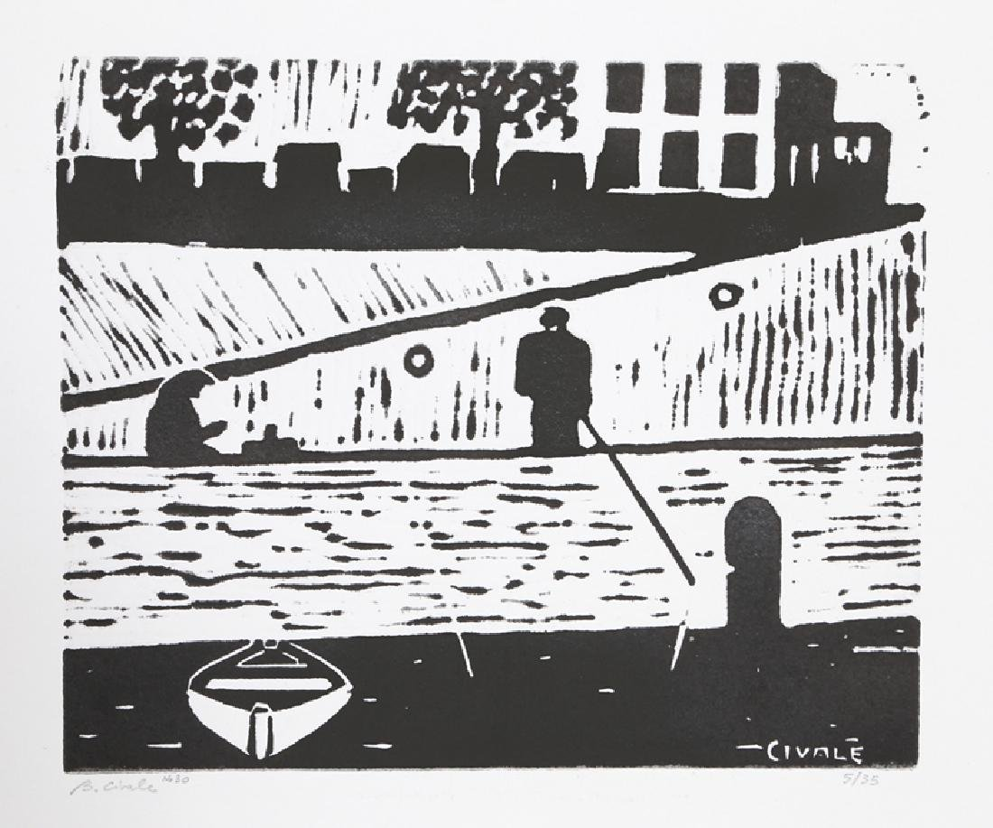 Biagio Civale, Along the Siene River (30), Woodcut