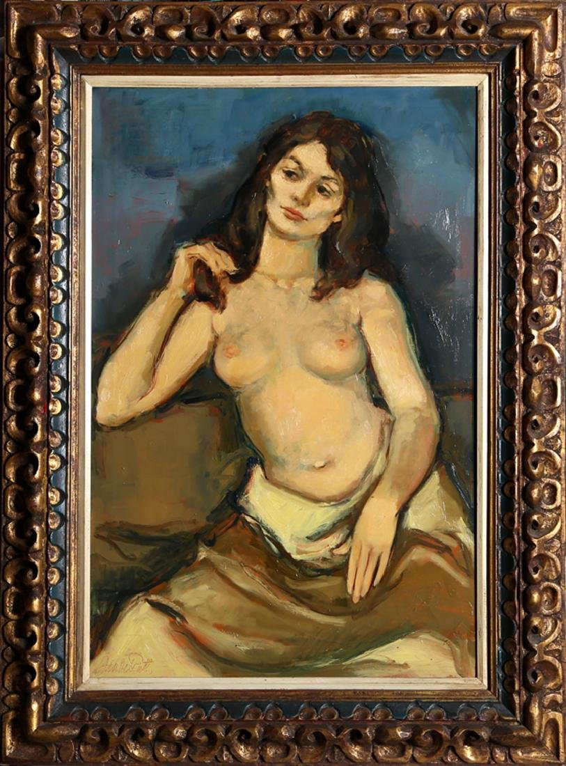 Jan De Ruth, Seated Nude in Yellow Skirt, Oil on Canvas