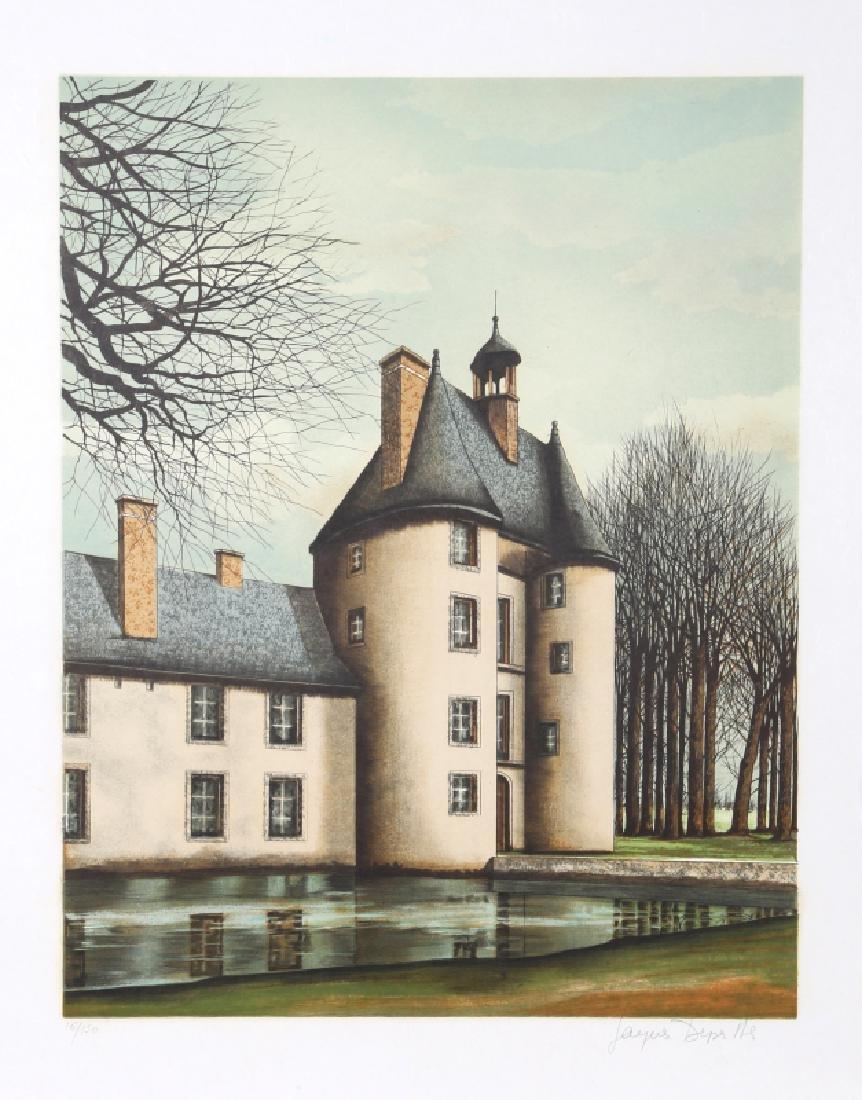 Jacques Deperthes, Manoir au bord de l'Eau, Lithograph