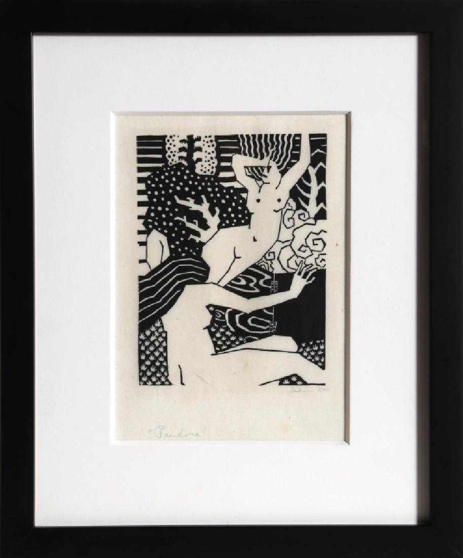 Isami Doi, Pandora, Woodcut on thin wove paper