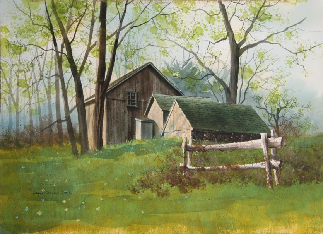 James Feriola, Spring Farm, Watercolor on Paper, Signed