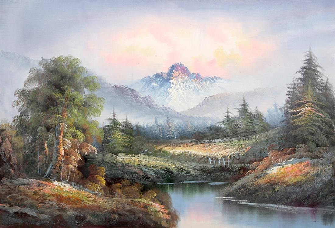 Shumu Fu, Spring Mountain Landscape (51), Oil on Canvas