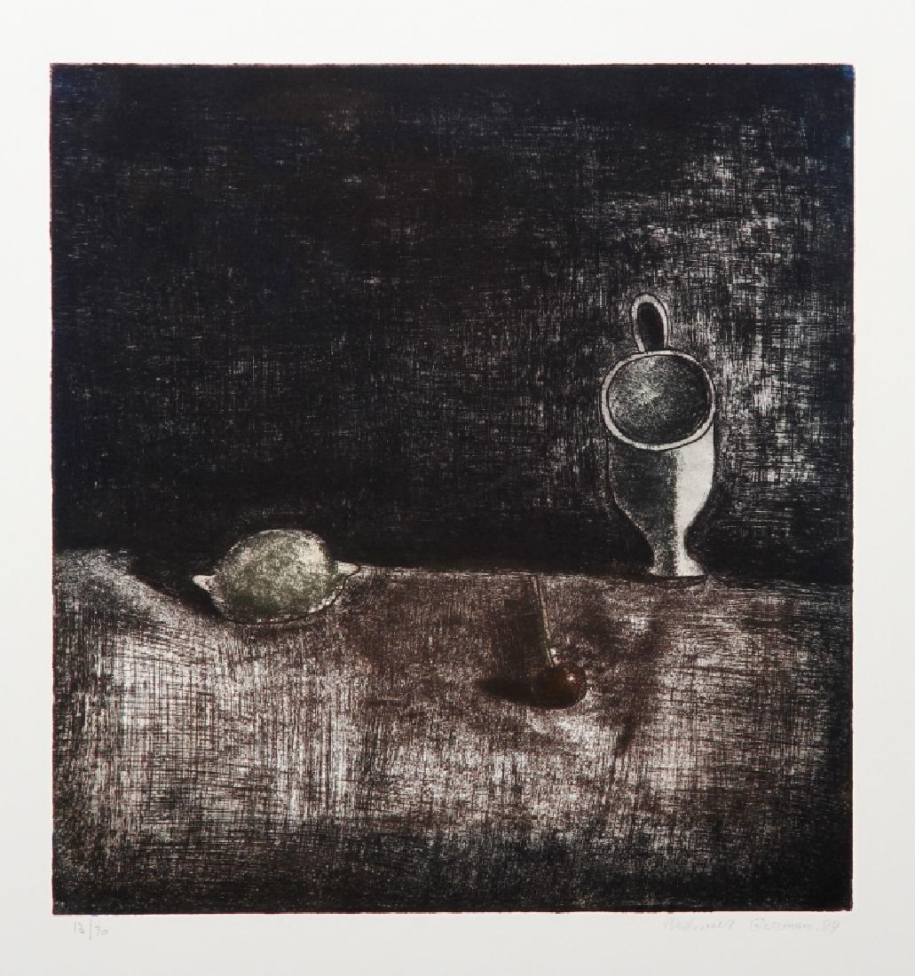 Vladimir German, Still Life with Lemon (Black), Etching