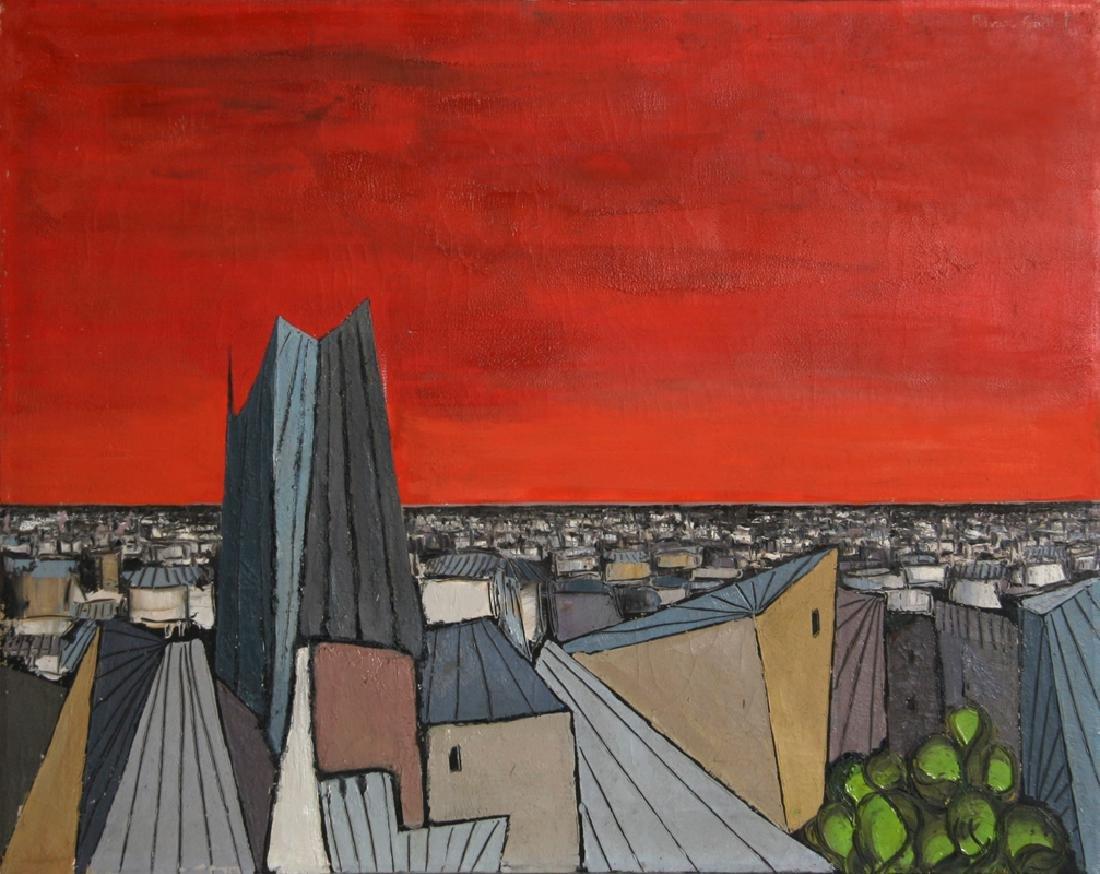 Alvaro Guillot, De Rouge Sur La Ville, Oil on Canvas,