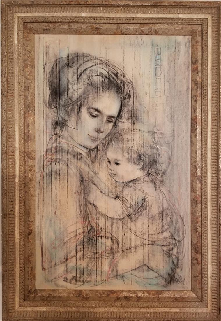 Edna Hibel,  - Mother and Child, Oil on Masonite