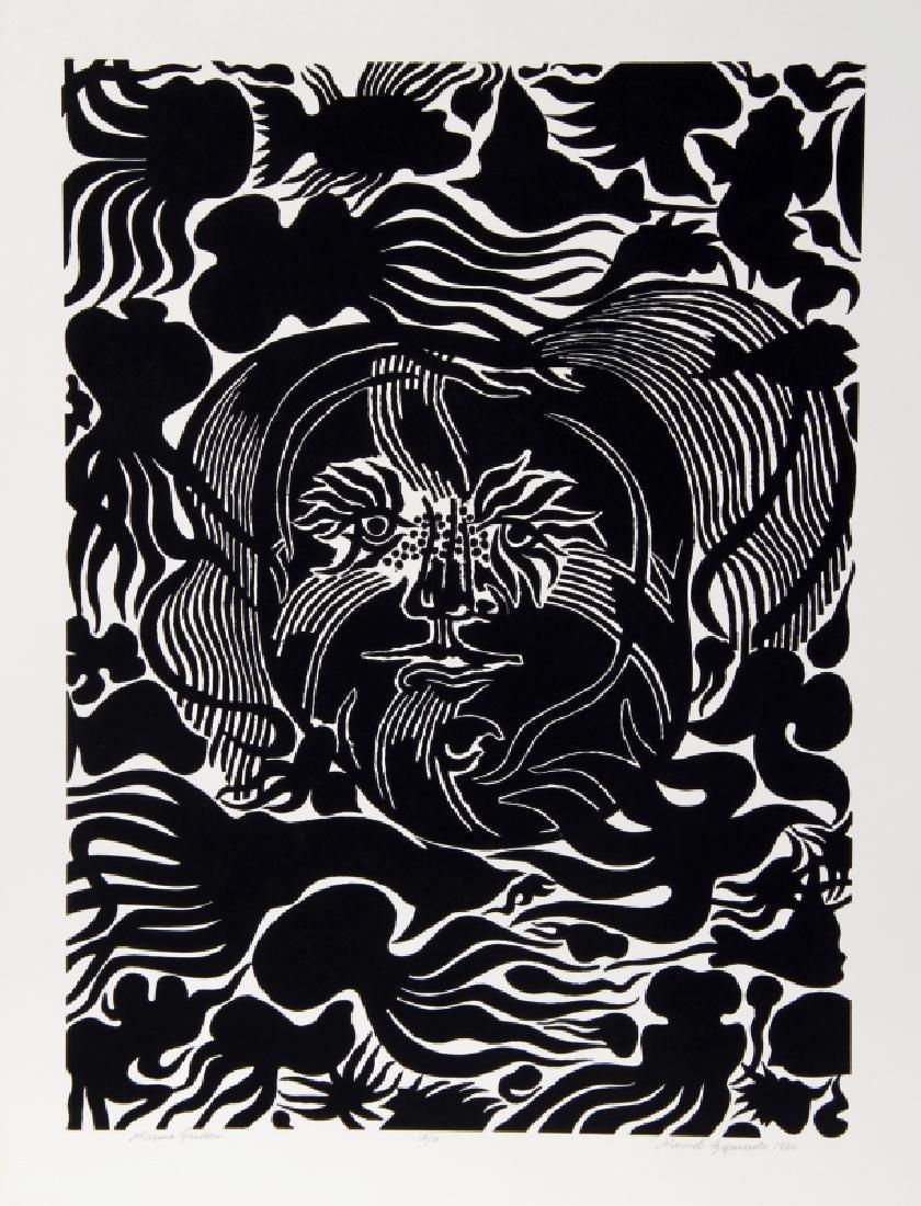 Manuel Izqueirdo, Marine Garden (Black), Woodcut
