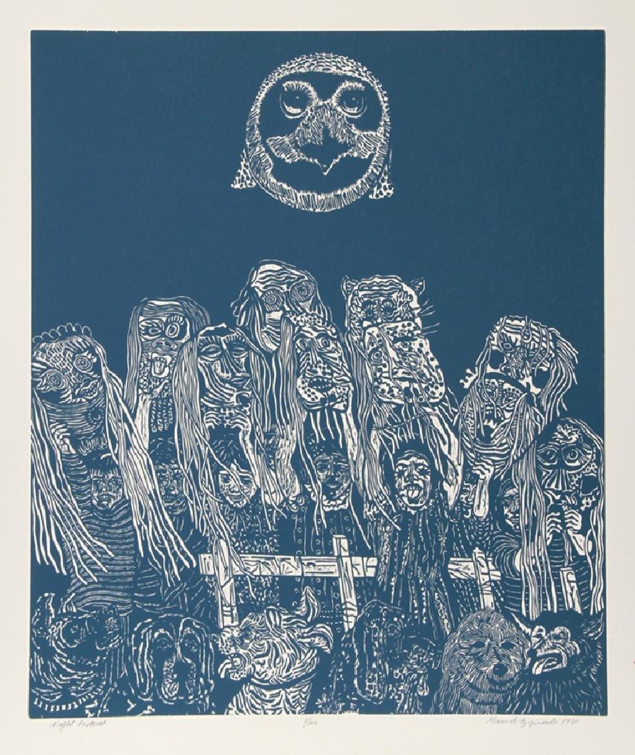 Manuel Izqueirdo, Night Festival (Blue), Woodcut