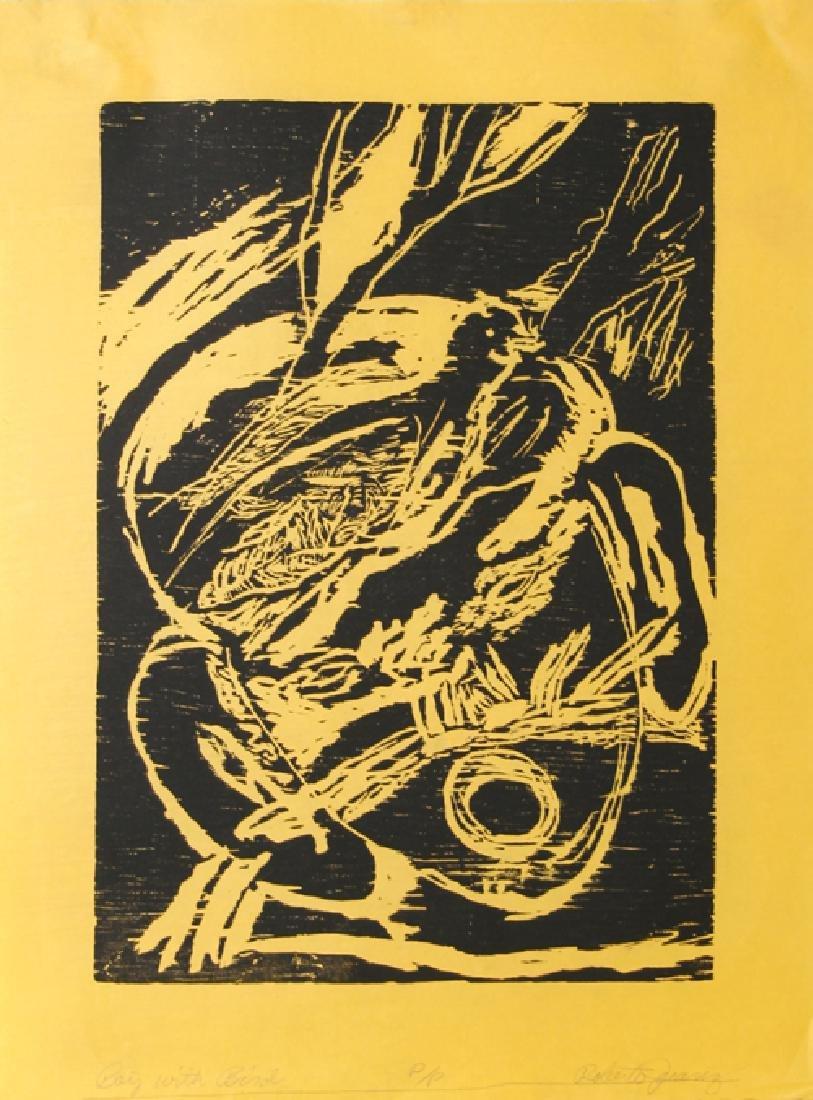Roberto Juarez, Boy with Bird (black), Woodcut on
