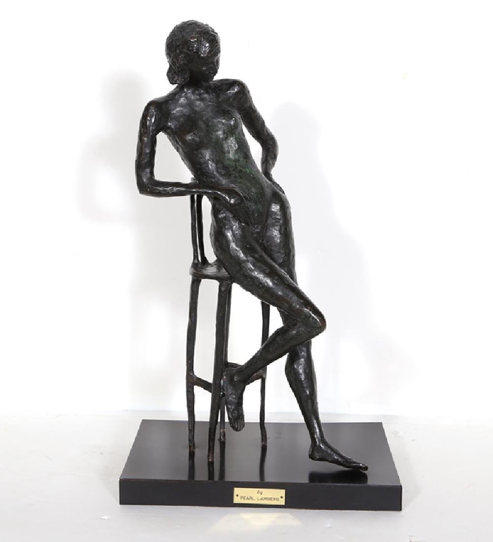 Pearl Lamberg, Nude on Chair, Bronze Sculpture